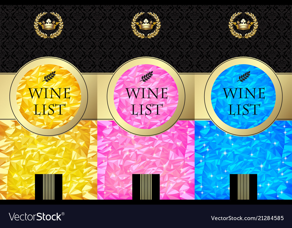 Set of wine lists template and labels with color