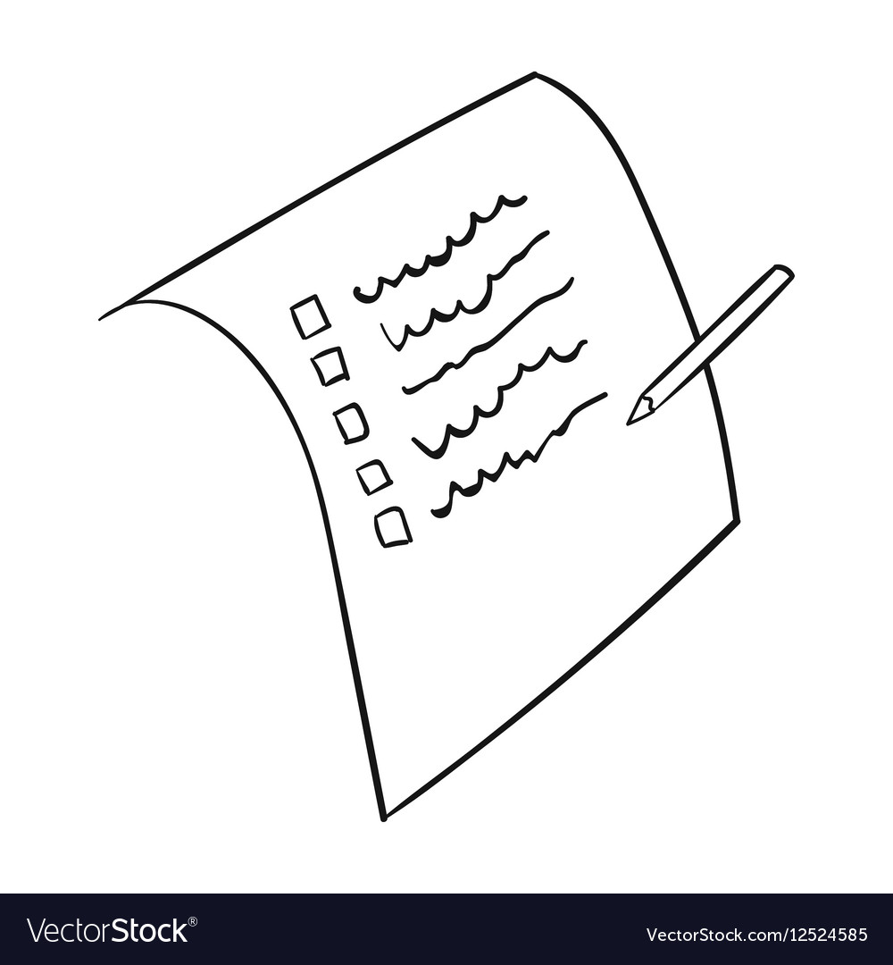 shopping list icon in outline style isolated on vector image
