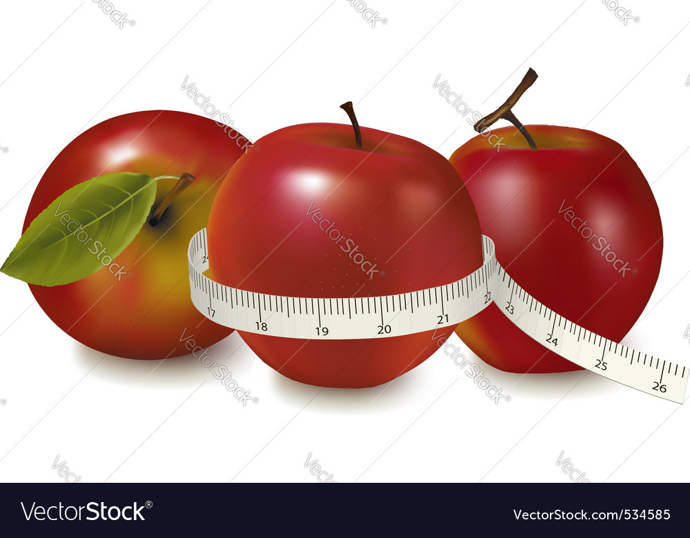 Three red apples vector image
