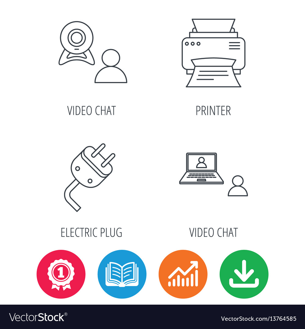 Video chat printer and electric plug icons