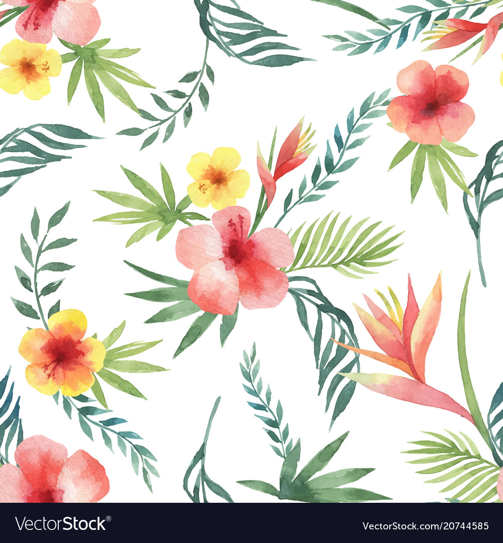 Watercolor seamless pattern of tropical leaves and