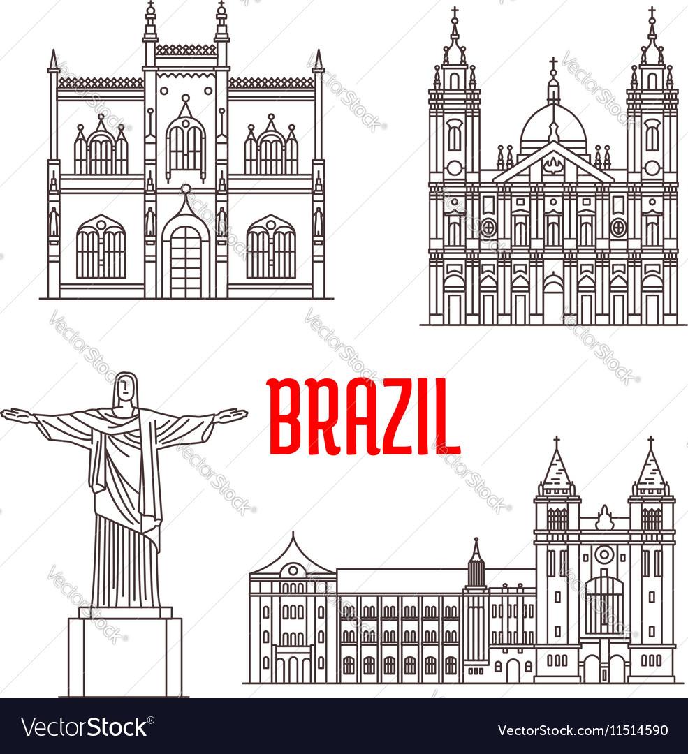 Architecture travel landmarks of Brazil vector image