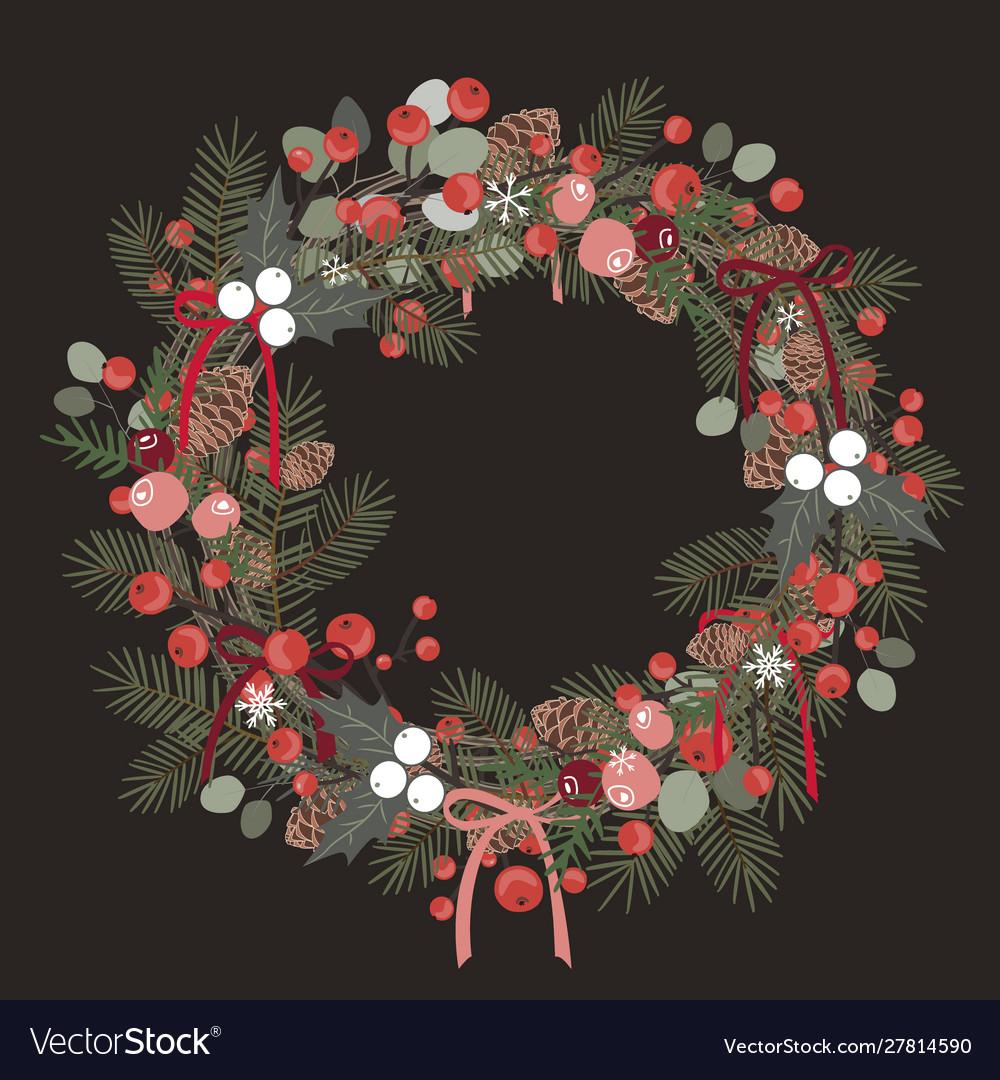 Beautiful christmas decorative wreath pine
