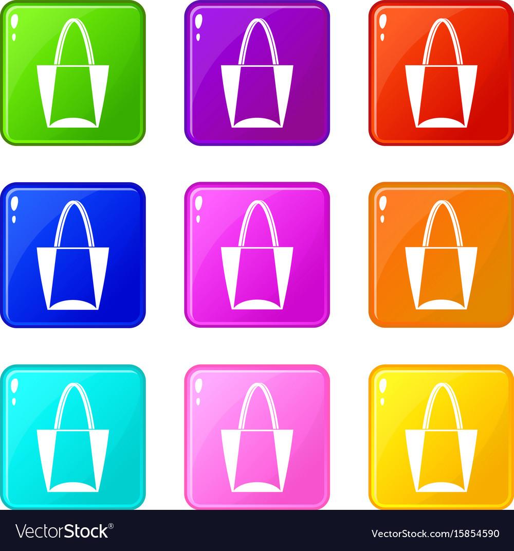 Big bag icons 9 set vector image