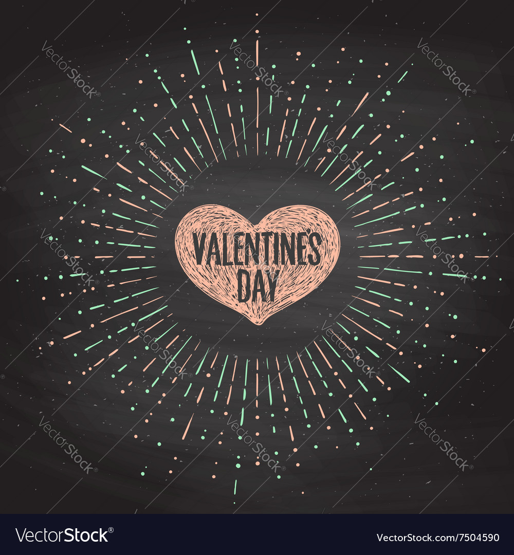 Black chalk board romantic set greeting card vector