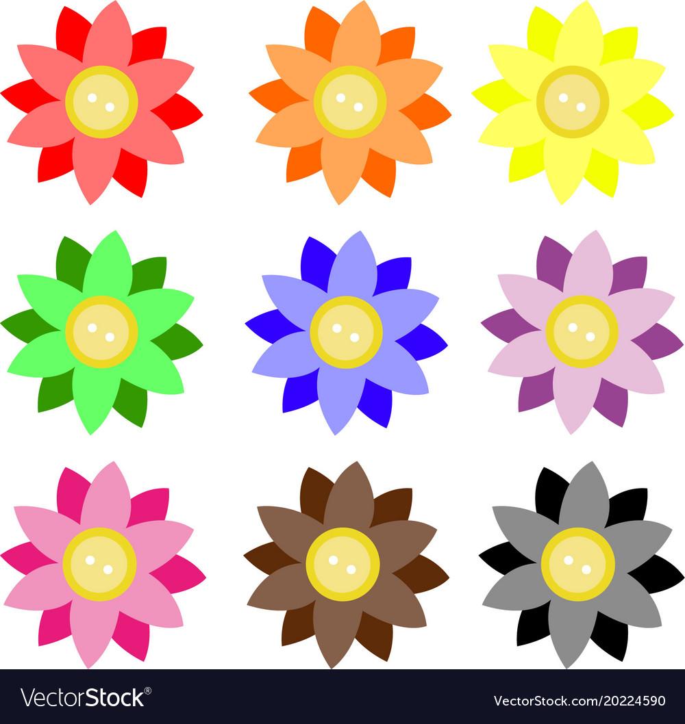 Button 2 color flowers