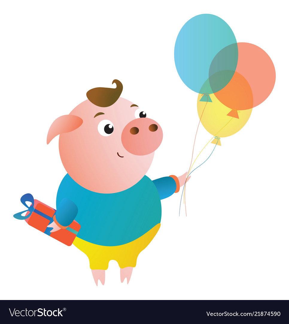 Cartoon cute pig with the gift and balloons