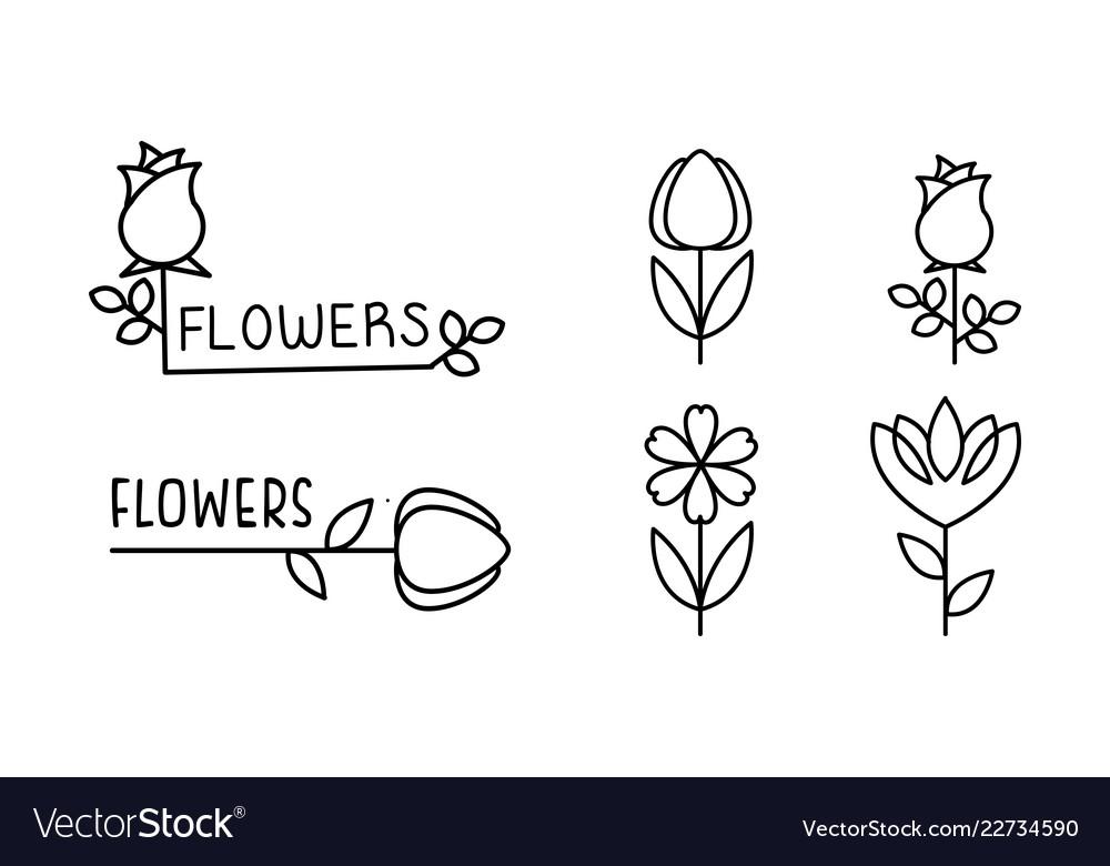 Flowers linear logo set floral design elements