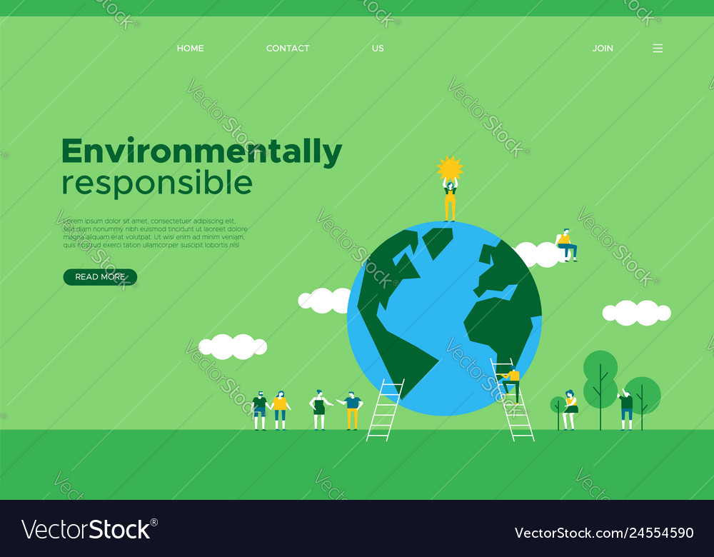 Green earth day social web landing page template