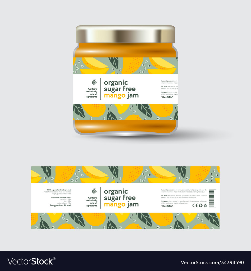 Mango jam label and packaging seamless pattern
