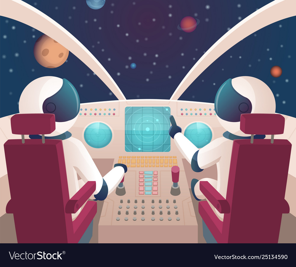 Pilots in spaceship shuttle cockpit with pilots