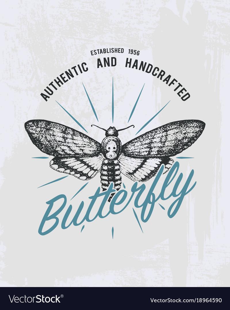 Tee print butterfly hawk moths or animal t-shirt