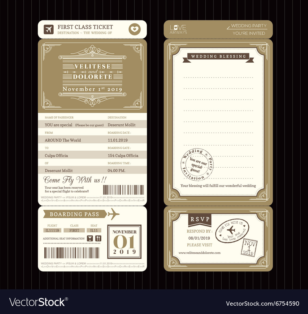 Vintage style Boarding Pass Ticket Wedding card