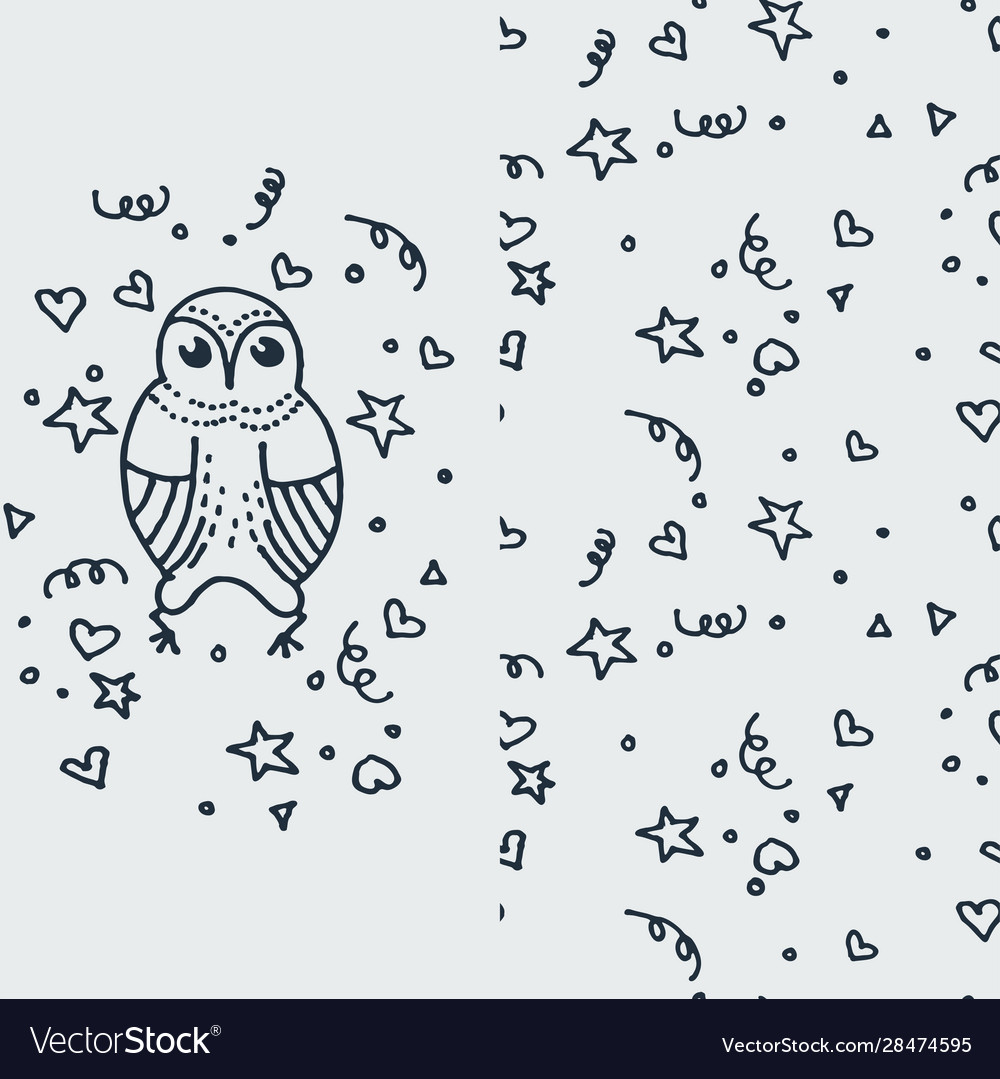 Cute doodle owl hand drawn