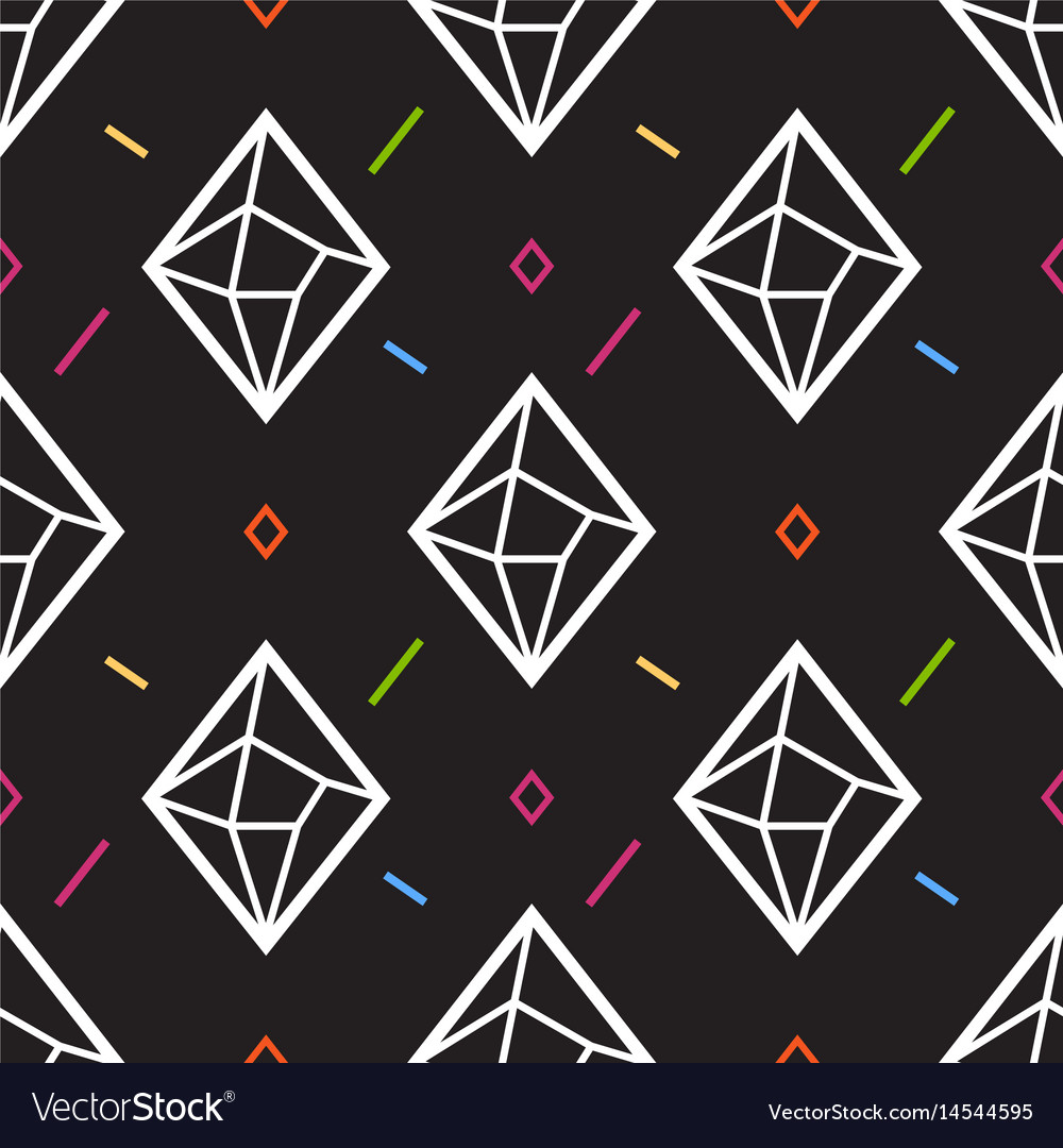 Diamond or crystal seamless pattern geometric vector image