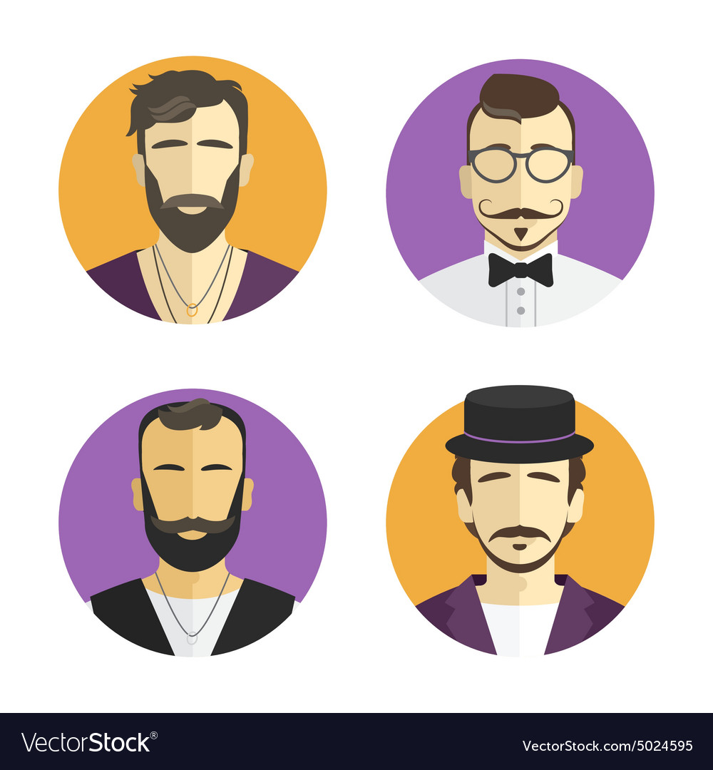Different men hipster avatar set collection
