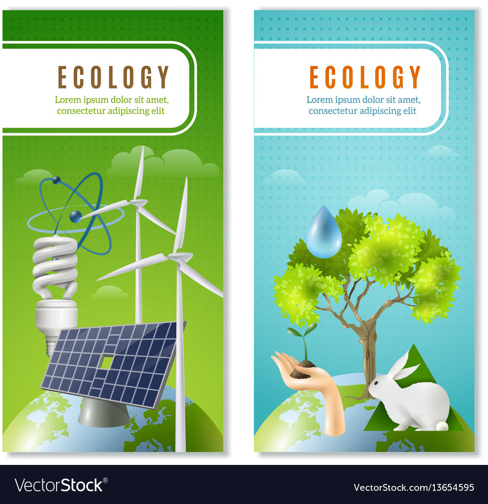 Ecology green energy 2 vertical banners
