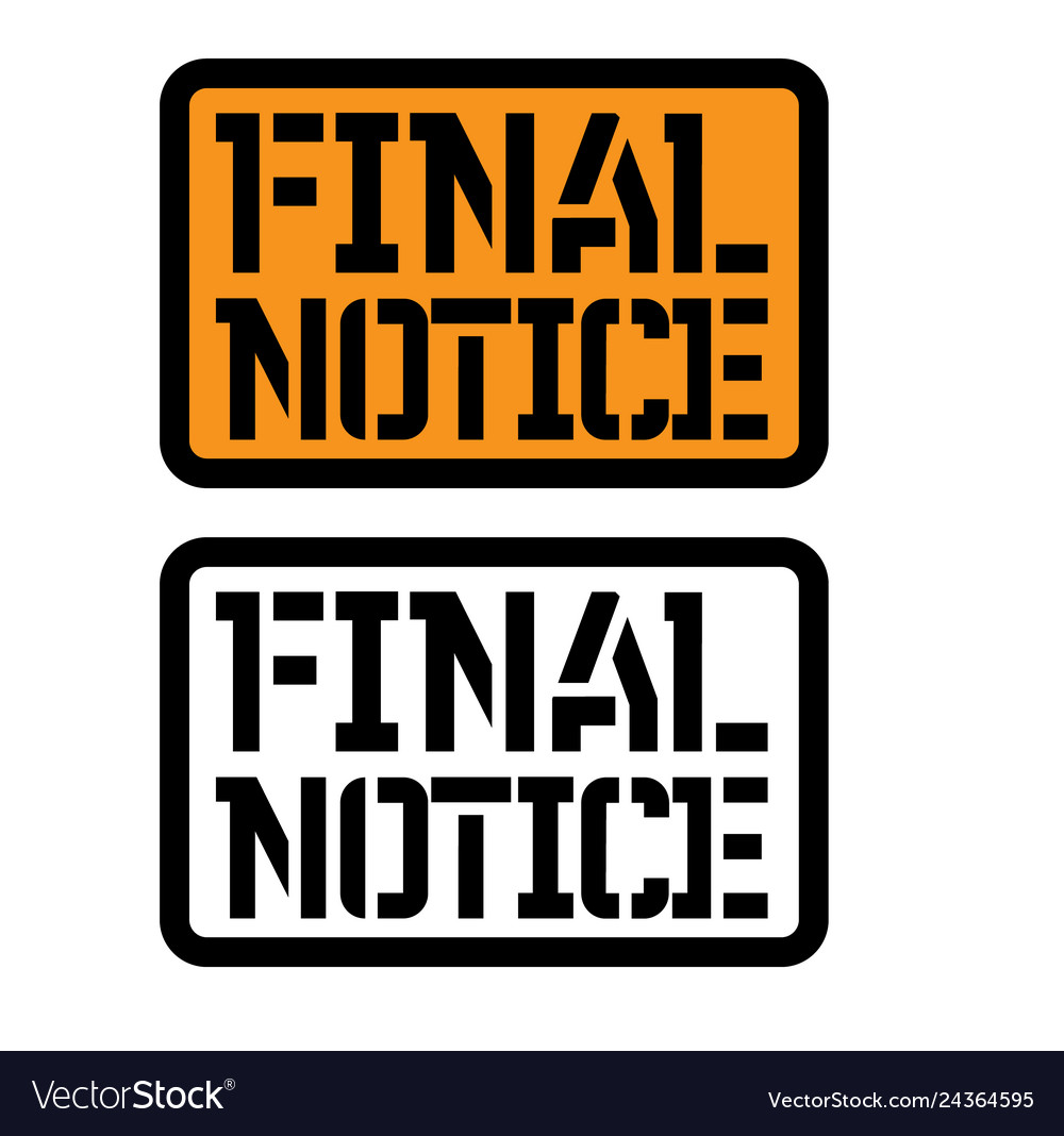 Final notice stamp on white