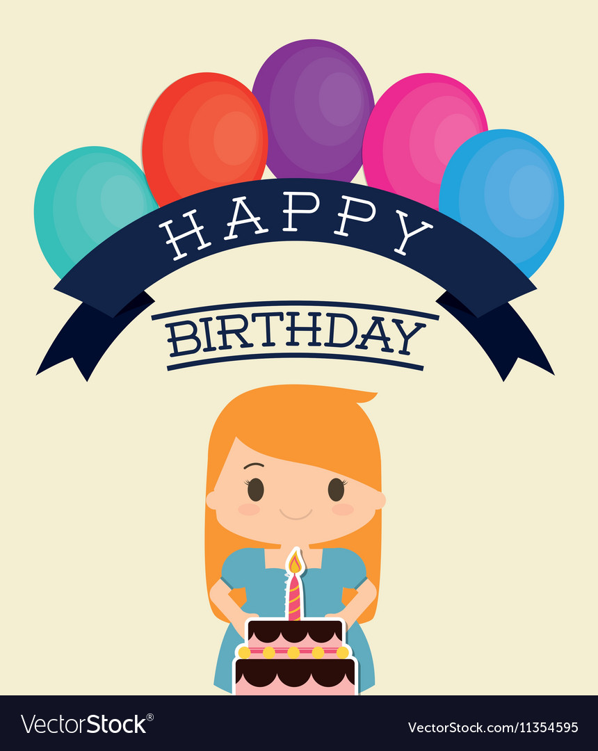 Girl Cartoon And Happy Birthday Design Vector Image