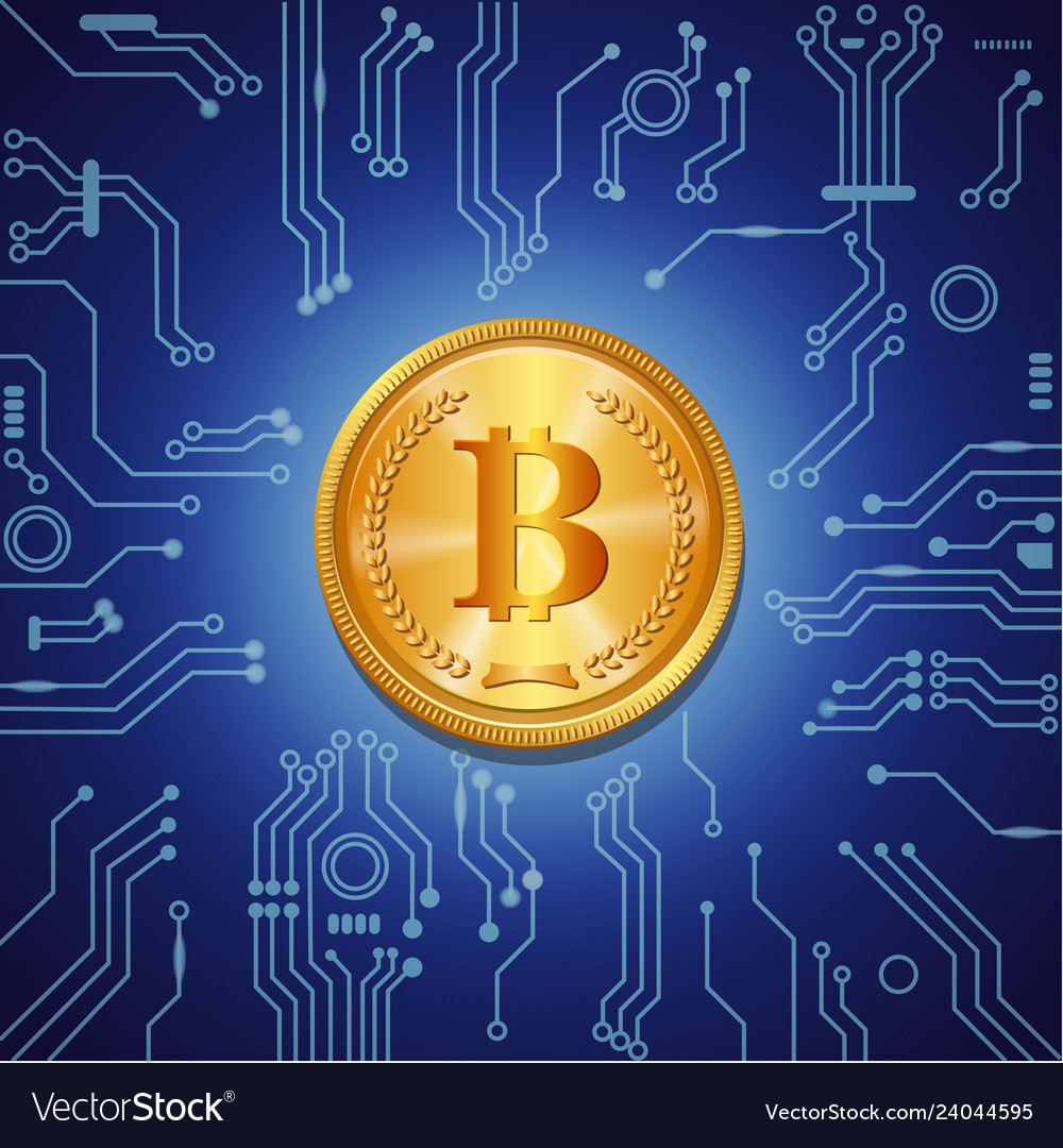 Golden bitcoin on blue digital background
