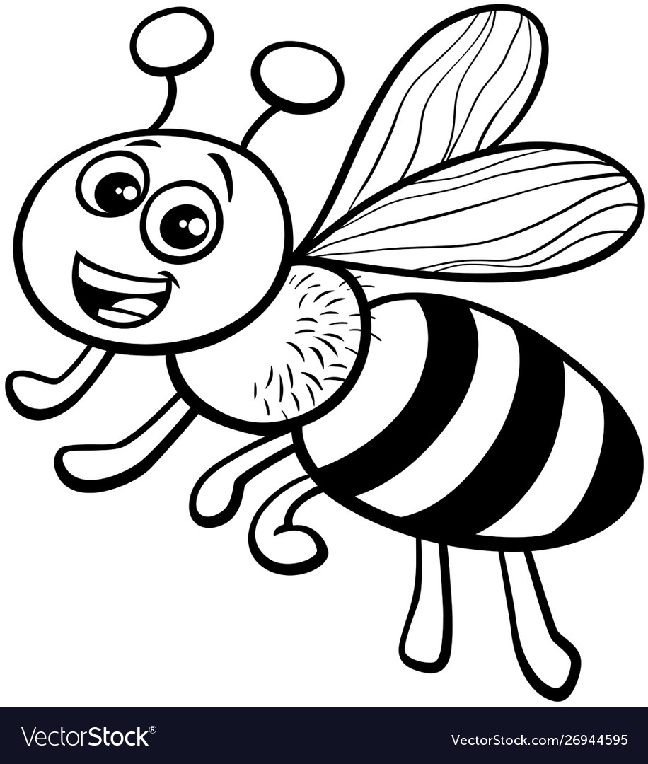 - Honey Bee Cartoon Character Coloring Book Vector Image