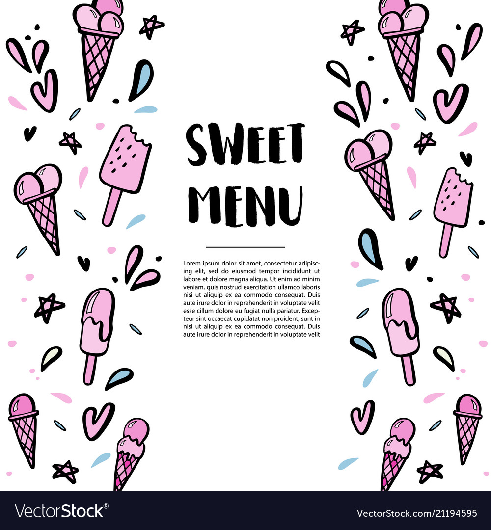 Pattern with hand drawn of ice cream