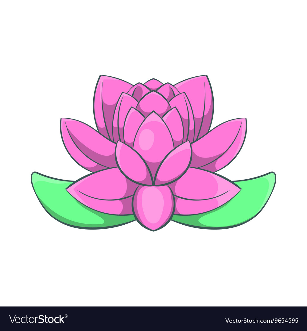 Pink Lotus Flower Icon Cartoon Style Royalty Free Vector