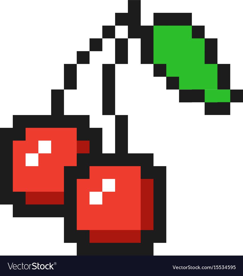 Pixel Art Cherry Icon Game Fruit Vectorstock