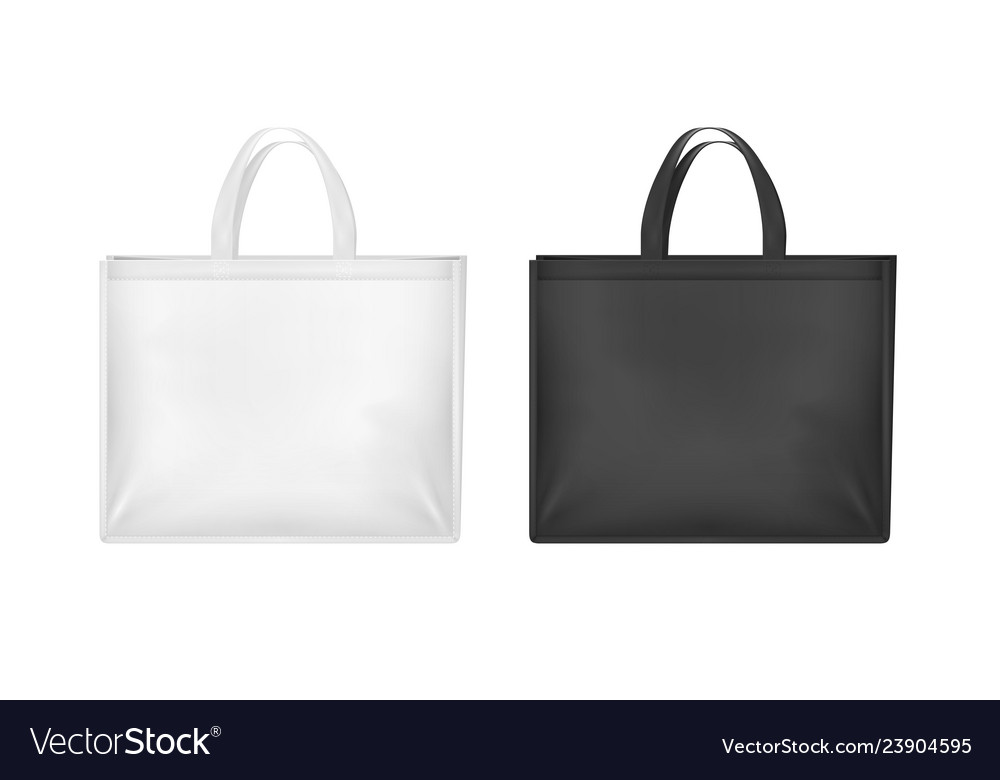 Realistic 3d detailed white and black blank tote
