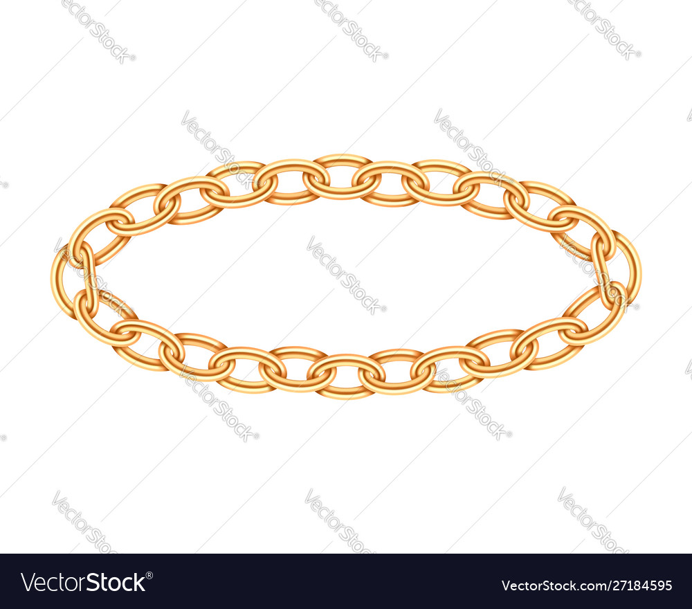 Realistic gold circle frame chain texture golden