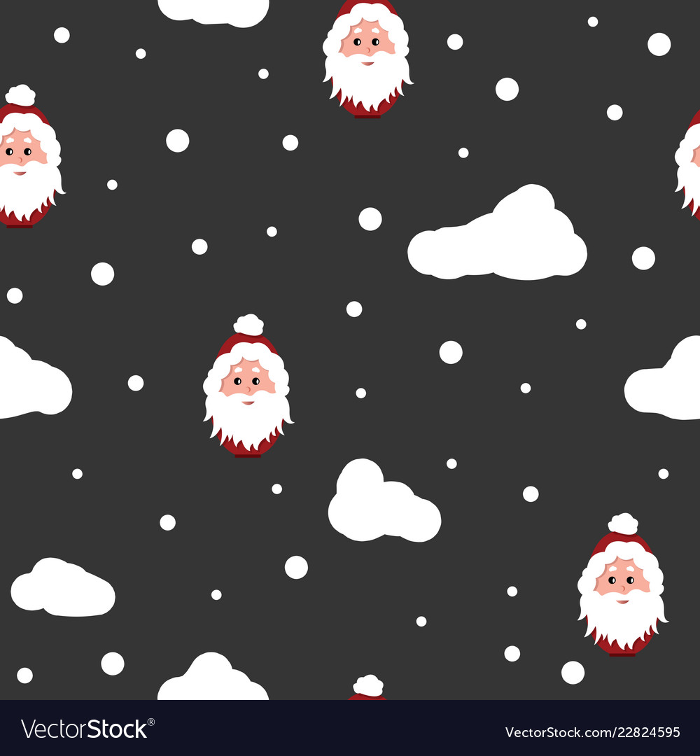 Santa claus and snow background seamless pattern