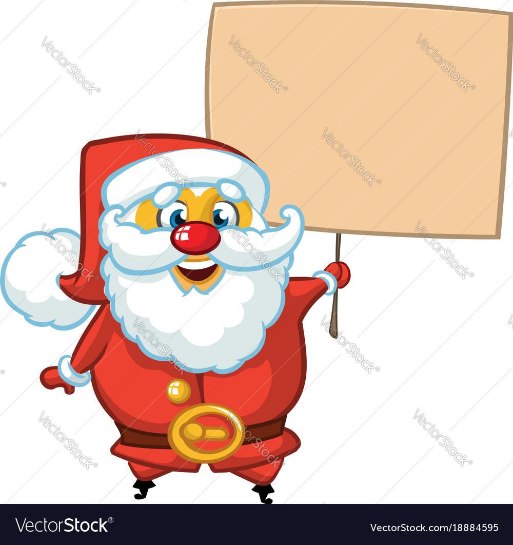 Santa claus character holding a sign