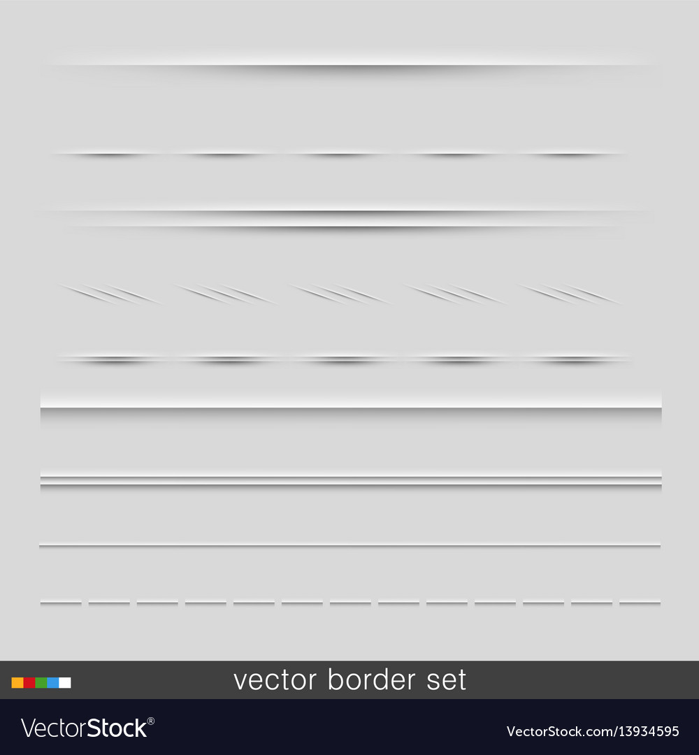 Set of dividers isolated on grey background
