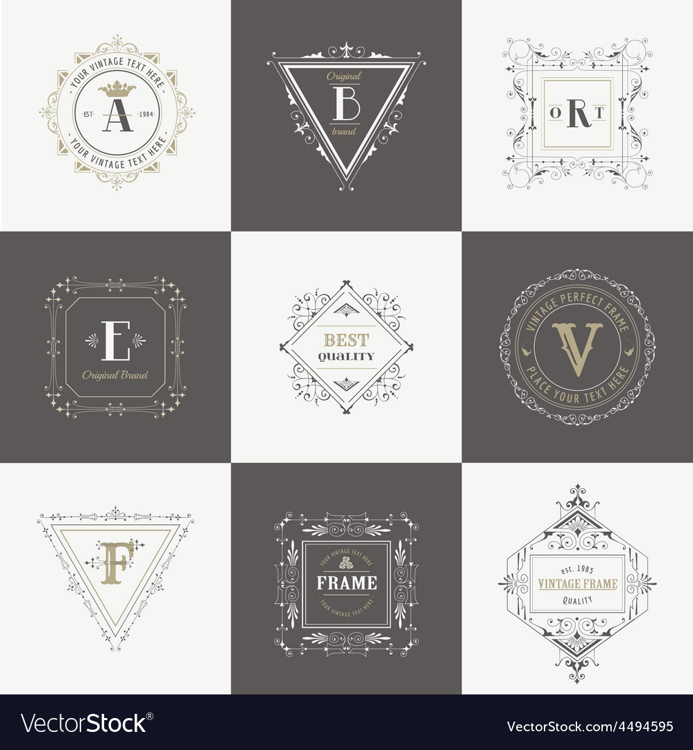 Set Vintage Frames and Banners vector image