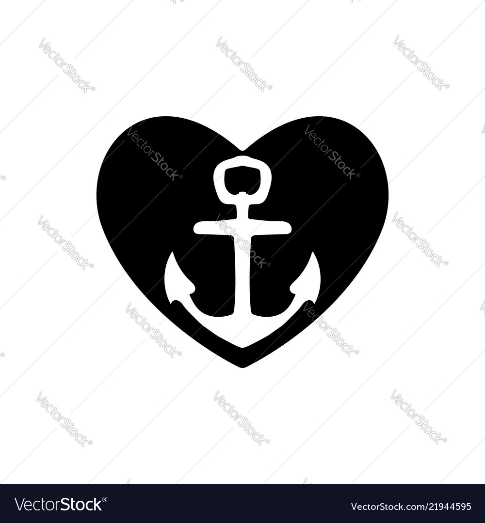 Ships anchor with a black heart symbolizing love