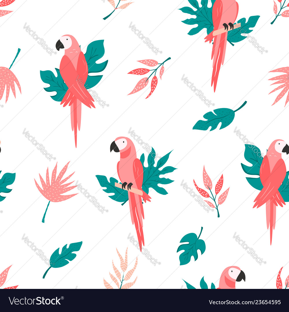 Tropical seamless pattern with birds and leaves