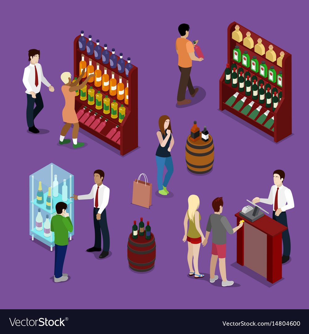 Alcohol shop interior with wine bottles customers