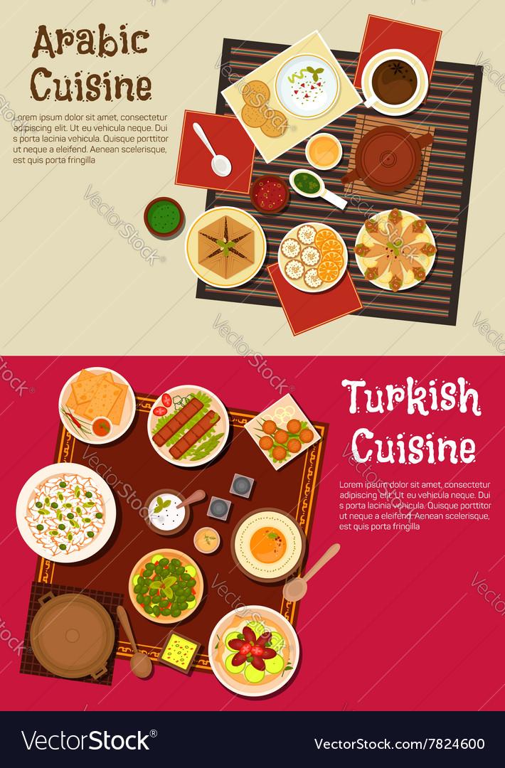 Arabian and turkish cuisine dishes