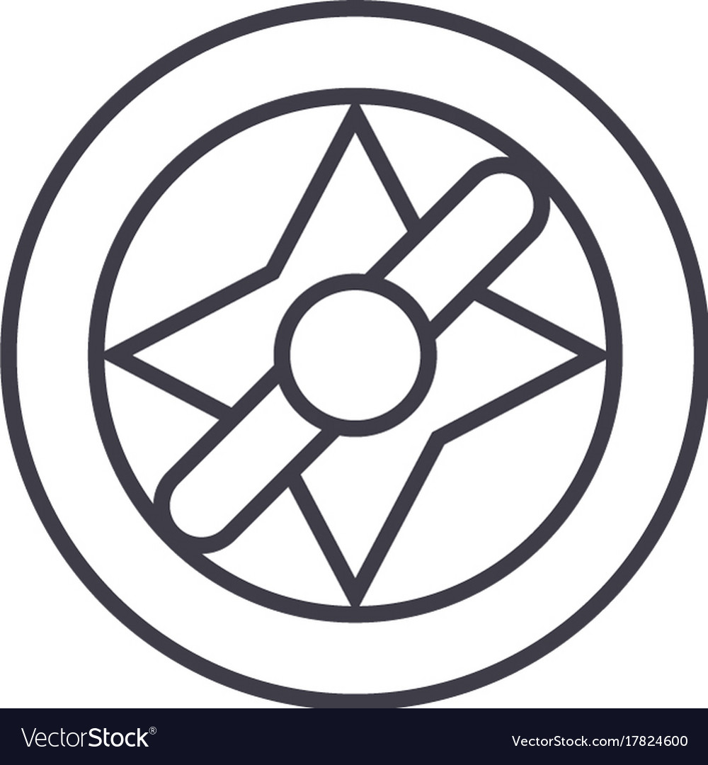 Compass line icon sign