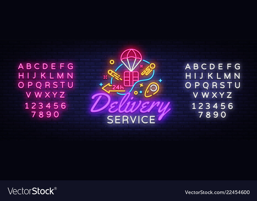 Delivery service neon logo fast delivery