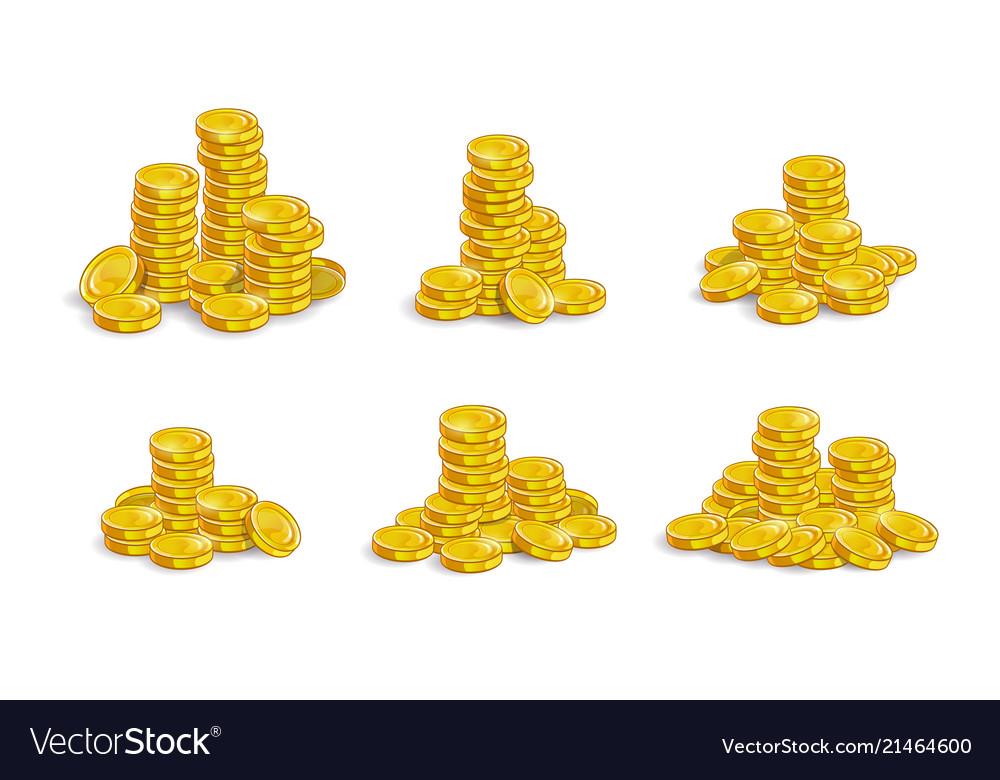 Golden coins stack set