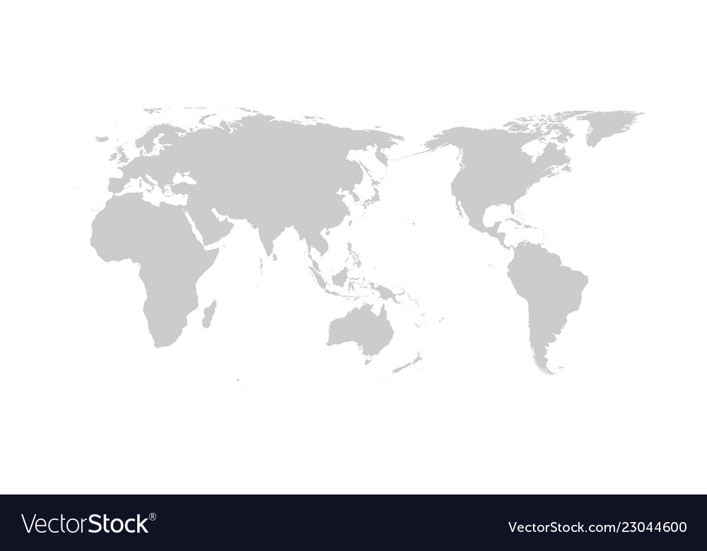 Flat World Map Vector.Grey World Map Flat Design Asia In Center Vector Image
