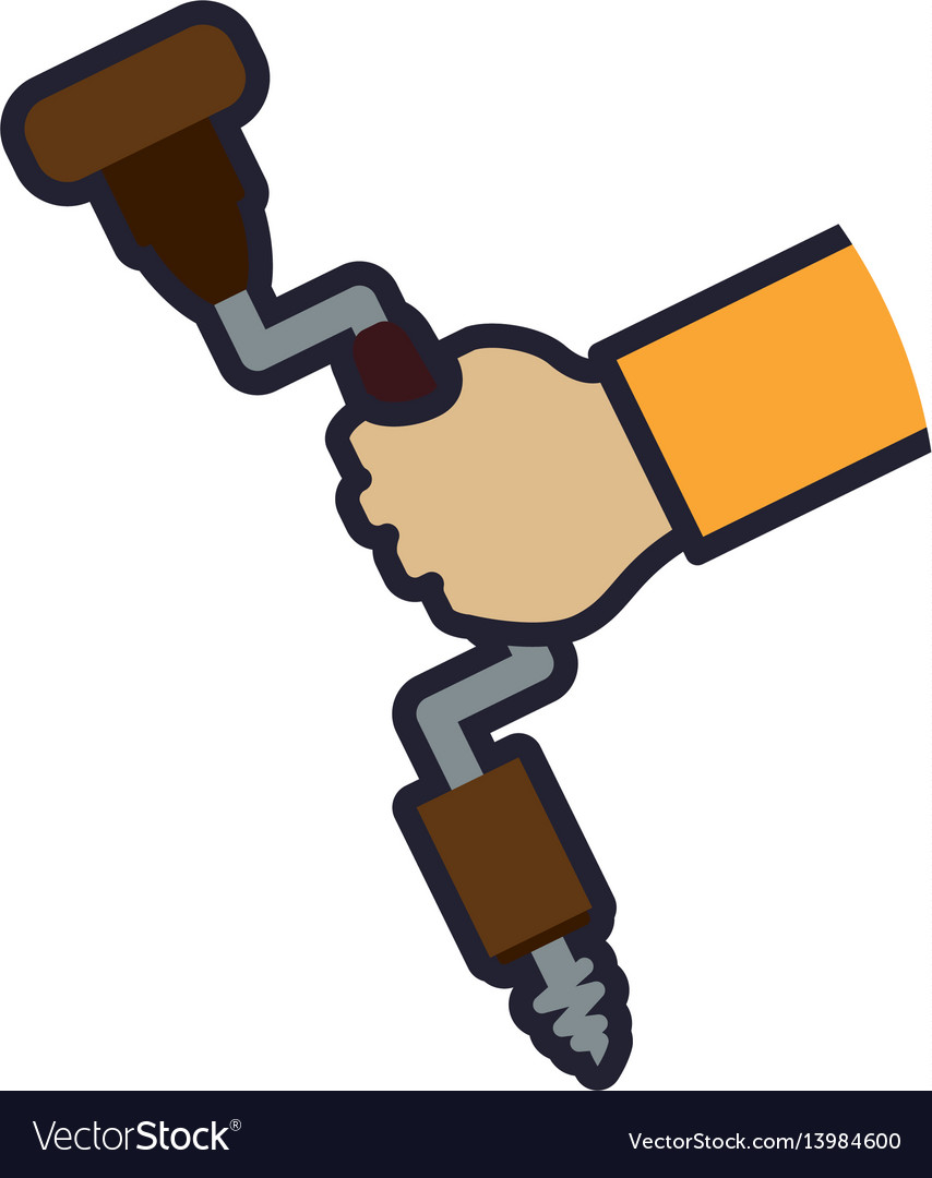 Hand brace and bits carpentry tool vector image