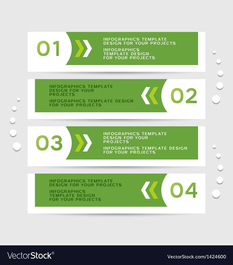 Infographics design with green banners vector image