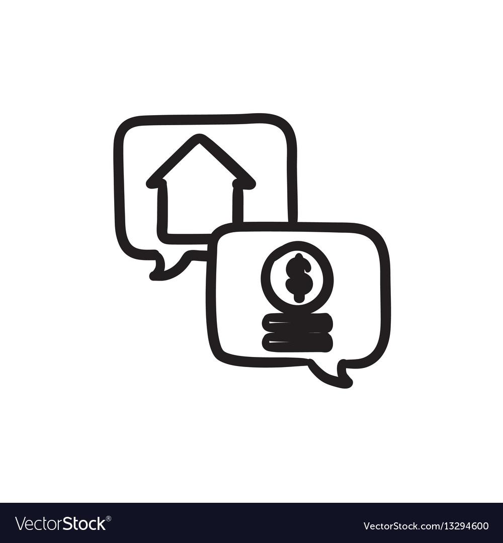 Real estate transaction sketch icon