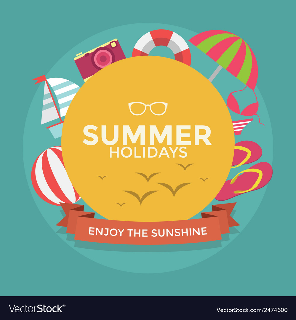 Summer holidays typography with Flat icon summer
