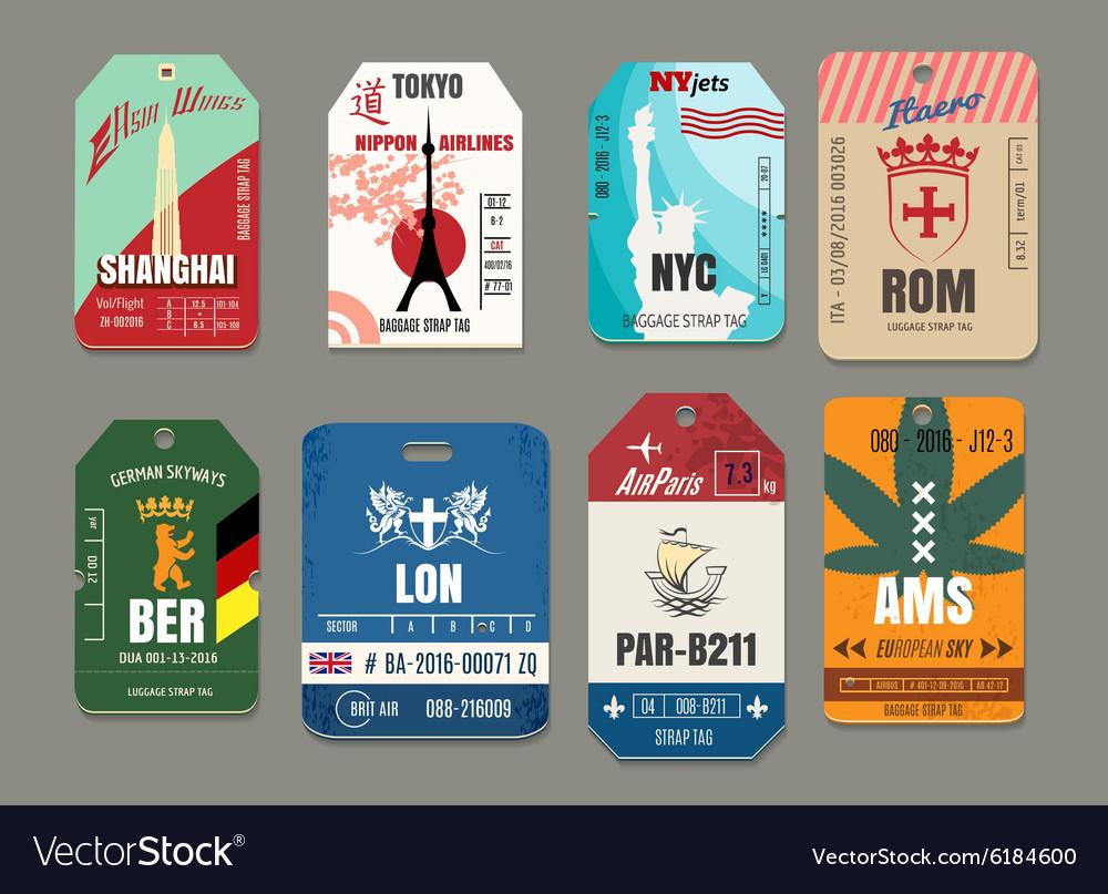 Vintage baggage or luggage paper tags set