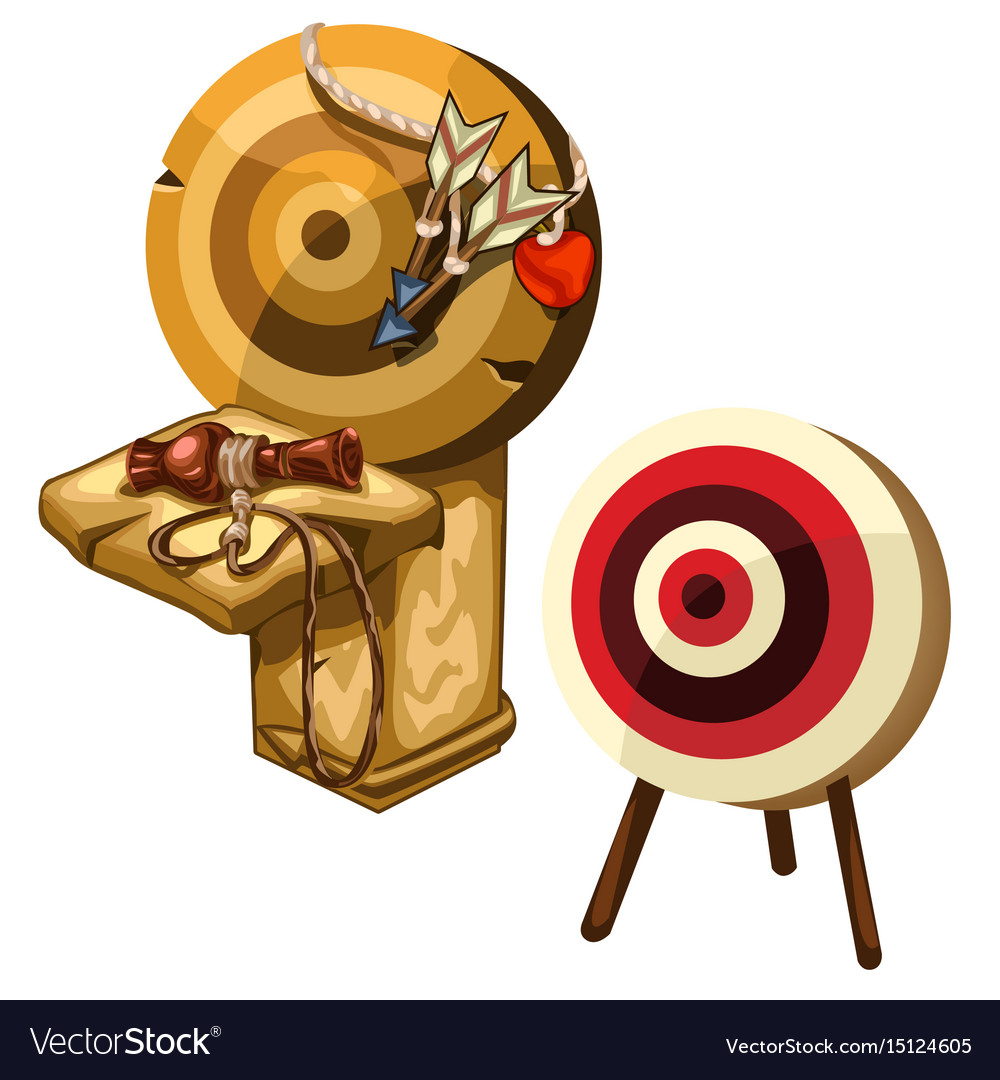 Ancient wooden darts and clay jug isolated