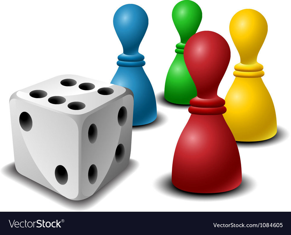 Board game figures with dice vector image