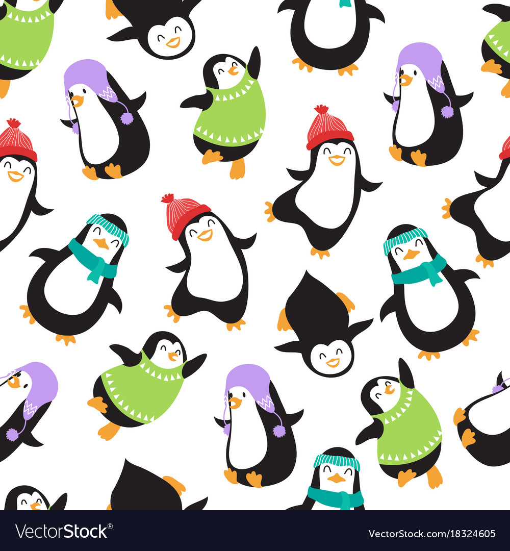 cute christmas baby penguins seamless royalty free vector
